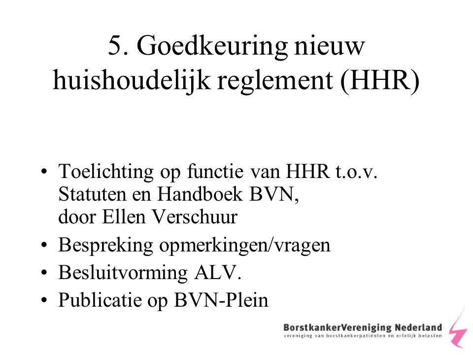 5. Goedkeuring nieuw huishoudelijk reglement (HHR) Toelichting op functie van HHR t.o.v.