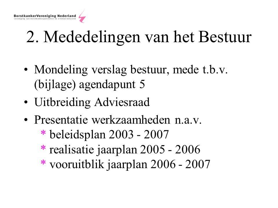 2. Mededelingen van het Bestuur Mondeling verslag bestuur, mede t.b.v.
