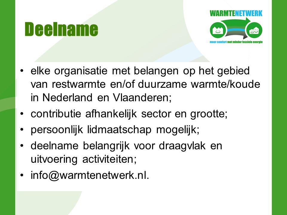 Deelname elke organisatie met belangen op het gebied van restwarmte en/of duurzame warmte/koude in Nederland en Vlaanderen; contributie afhankelijk sector en grootte; persoonlijk lidmaatschap mogelijk; deelname belangrijk voor draagvlak en uitvoering activiteiten; info@warmtenetwerk.nl.