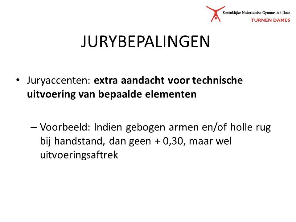 JURYBEPALINGEN Juryaccenten: extra aandacht voor technische uitvoering van bepaalde elementen – Voorbeeld: Indien gebogen armen en/of holle rug bij handstand, dan geen + 0,30, maar wel uitvoeringsaftrek
