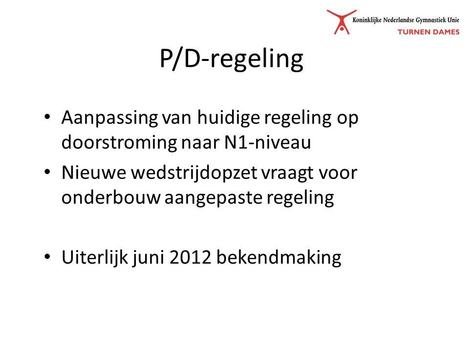 P/D-regeling Aanpassing van huidige regeling op doorstroming naar N1-niveau Nieuwe wedstrijdopzet vraagt voor onderbouw aangepaste regeling Uiterlijk juni 2012 bekendmaking