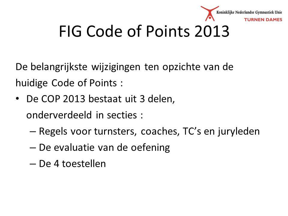 FIG Code of Points 2013 De belangrijkste wijzigingen ten opzichte van de huidige Code of Points : De COP 2013 bestaat uit 3 delen, onderverdeeld in secties : – Regels voor turnsters, coaches, TC's en juryleden – De evaluatie van de oefening – De 4 toestellen