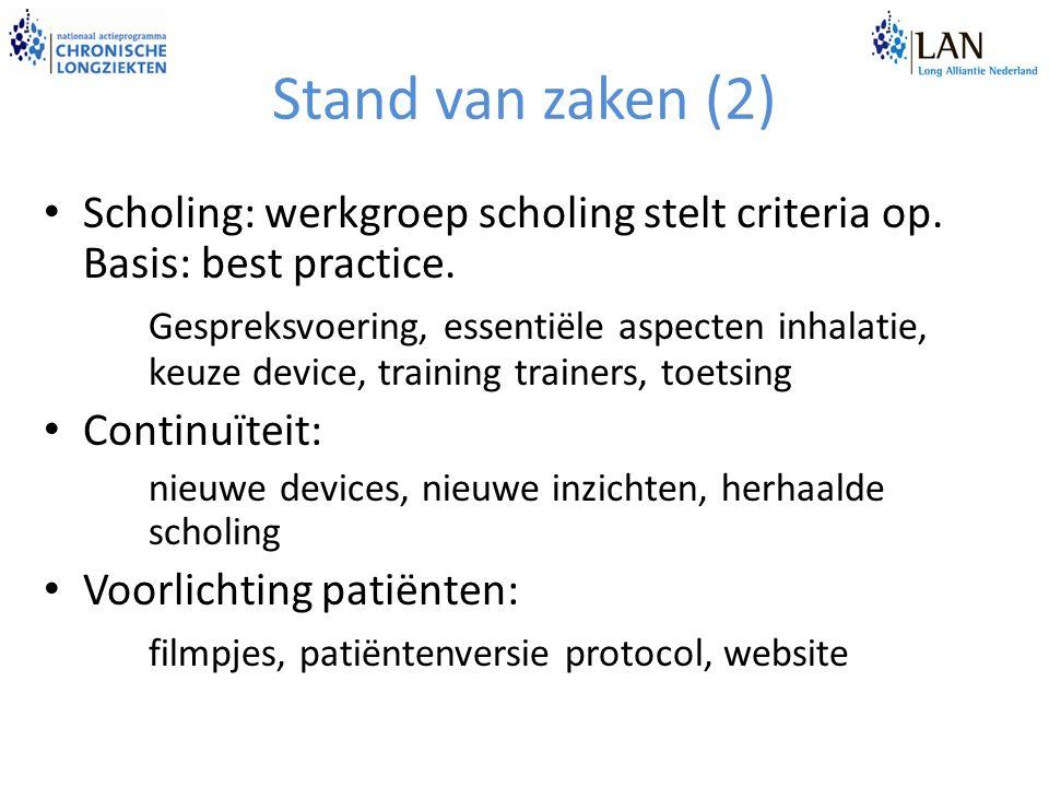 Stand van zaken (2) Scholing: werkgroep scholing stelt criteria op. Basis: best practice. Gespreksvoering, essentiële aspecten inhalatie, keuze device