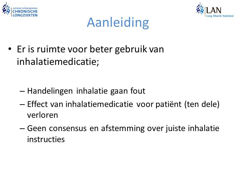 Aanleiding Er is ruimte voor beter gebruik van inhalatiemedicatie; – Handelingen inhalatie gaan fout – Effect van inhalatiemedicatie voor patiënt (ten