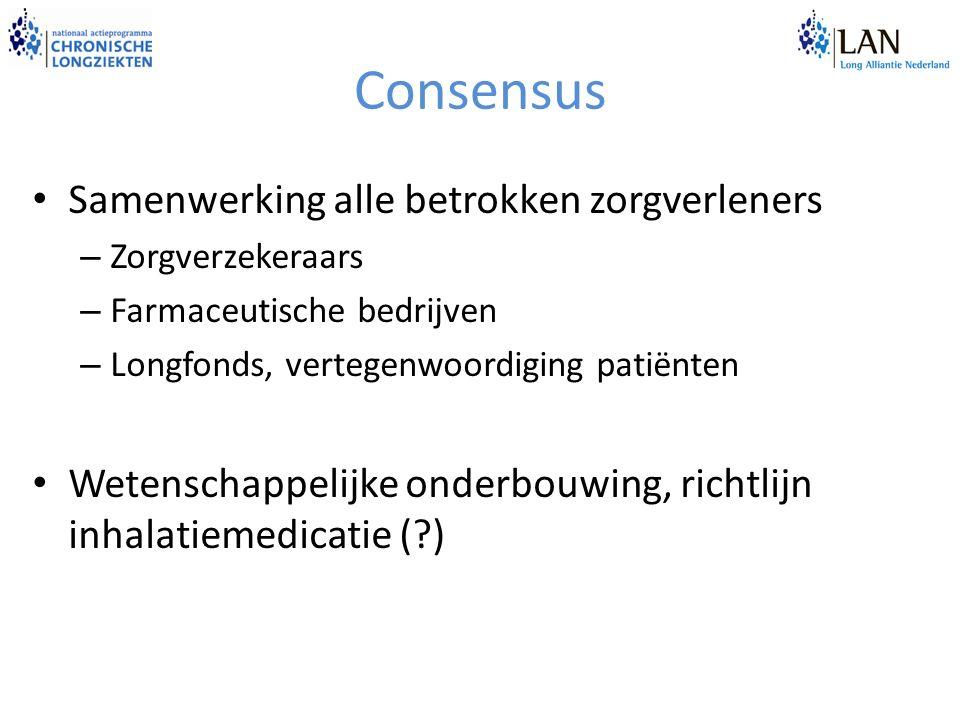Consensus Samenwerking alle betrokken zorgverleners – Zorgverzekeraars – Farmaceutische bedrijven – Longfonds, vertegenwoordiging patiënten Wetenschappelijke onderbouwing, richtlijn inhalatiemedicatie (?)
