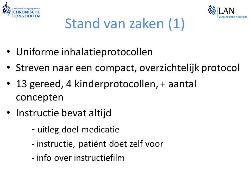 Stand van zaken (1) Uniforme inhalatieprotocollen Streven naar een compact, overzichtelijk protocol 13 gereed, 4 kinderprotocollen, + aantal concepten