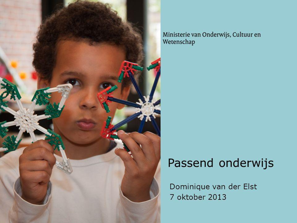Passend onderwijs Dominique van der Elst 7 oktober 2013