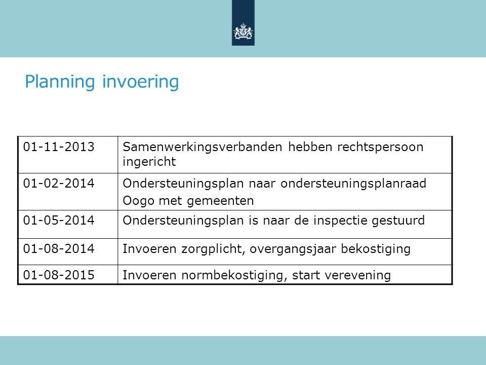 Planning invoering 01-11-2013Samenwerkingsverbanden hebben rechtspersoon ingericht 01-02-2014Ondersteuningsplan naar ondersteuningsplanraad Oogo met gemeenten 01-05-2014Ondersteuningsplan is naar de inspectie gestuurd 01-08-2014Invoeren zorgplicht, overgangsjaar bekostiging 01-08-2015Invoeren normbekostiging, start verevening