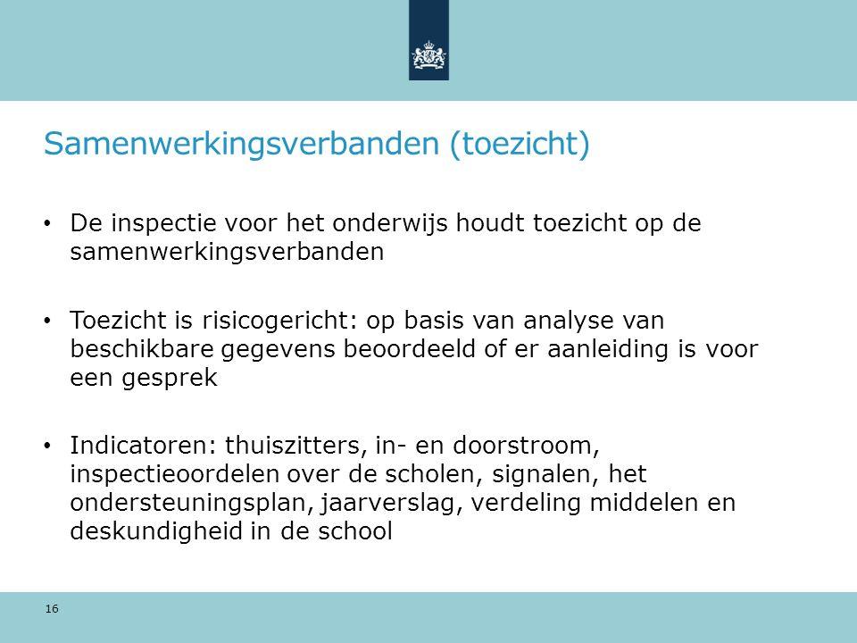 Samenwerkingsverbanden (toezicht) De inspectie voor het onderwijs houdt toezicht op de samenwerkingsverbanden Toezicht is risicogericht: op basis van