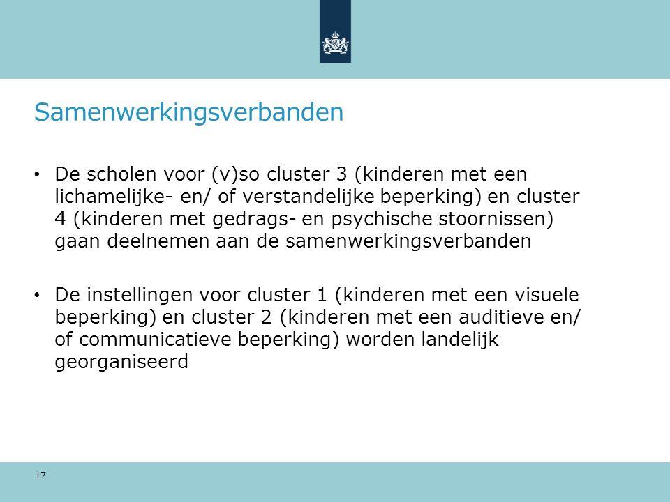 Samenwerkingsverbanden De scholen voor (v)so cluster 3 (kinderen met een lichamelijke- en/ of verstandelijke beperking) en cluster 4 (kinderen met ged