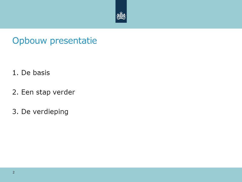 Opbouw presentatie 1.De basis 2.Een stap verder 3.De verdieping 2