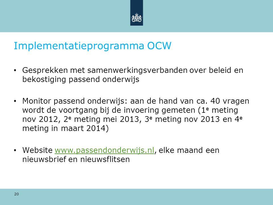 20 Implementatieprogramma OCW Gesprekken met samenwerkingsverbanden over beleid en bekostiging passend onderwijs Monitor passend onderwijs: aan de hand van ca.