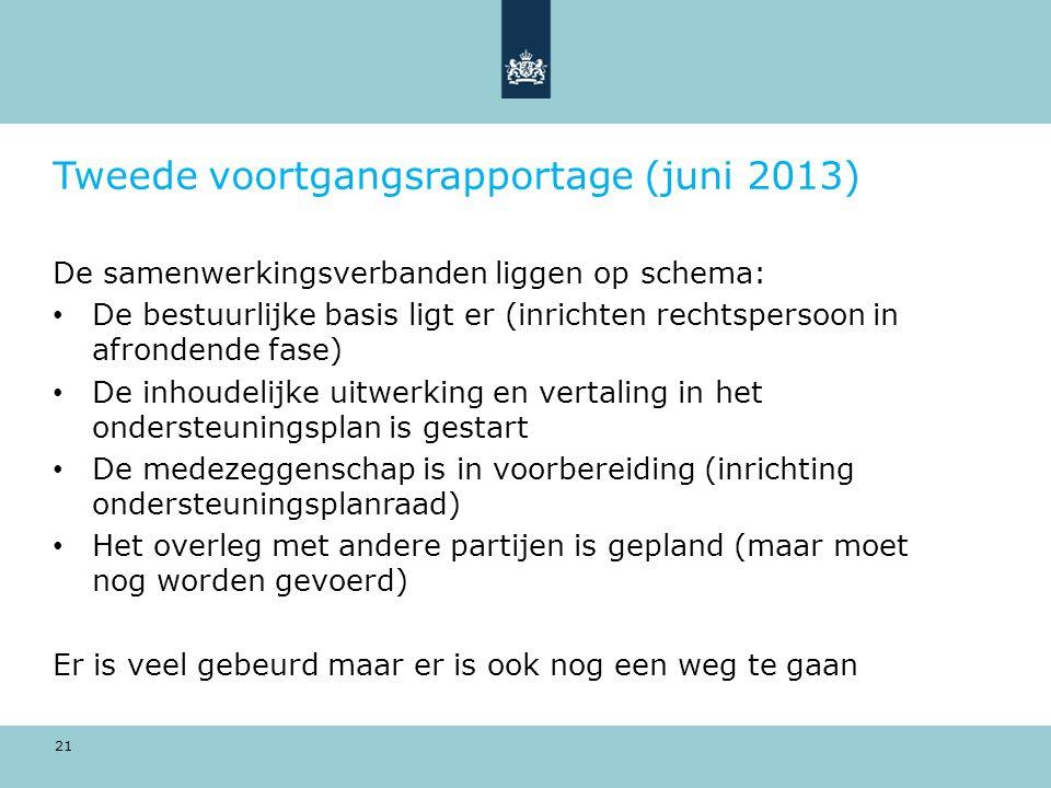 21 Tweede voortgangsrapportage (juni 2013) De samenwerkingsverbanden liggen op schema: De bestuurlijke basis ligt er (inrichten rechtspersoon in afron