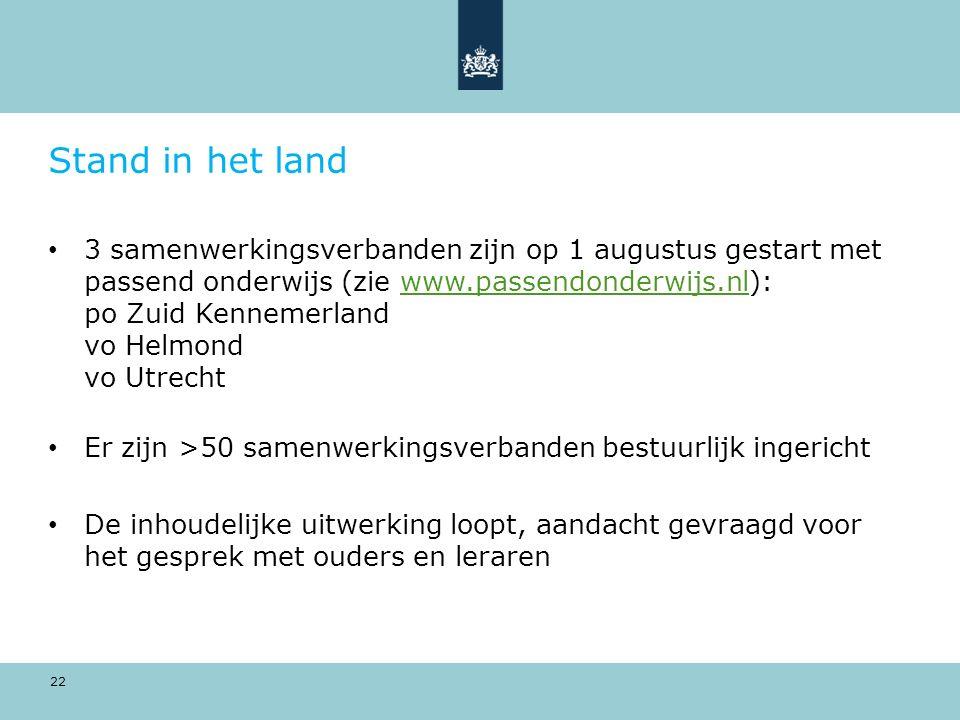 22 Stand in het land 3 samenwerkingsverbanden zijn op 1 augustus gestart met passend onderwijs (zie www.passendonderwijs.nl): po Zuid Kennemerland vo