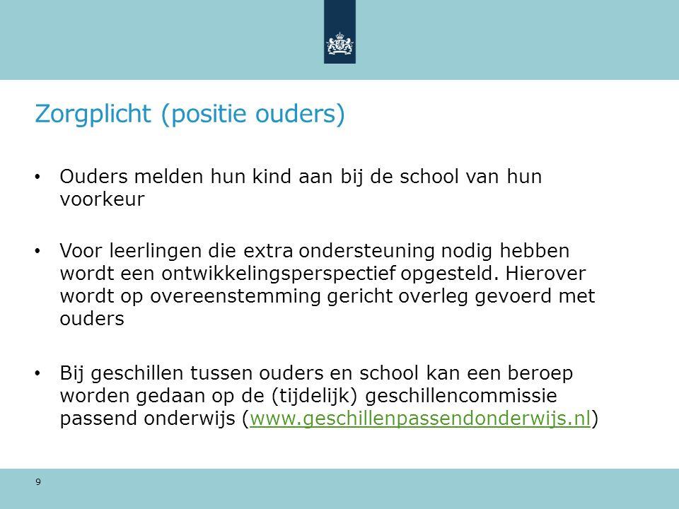 Zorgplicht (positie ouders) Ouders melden hun kind aan bij de school van hun voorkeur Voor leerlingen die extra ondersteuning nodig hebben wordt een o
