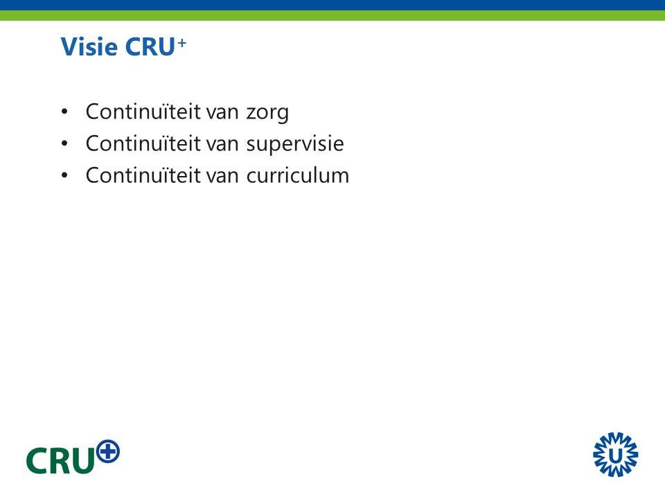 Visie CRU + Continuïteit van zorg Continuïteit van supervisie Continuïteit van curriculum