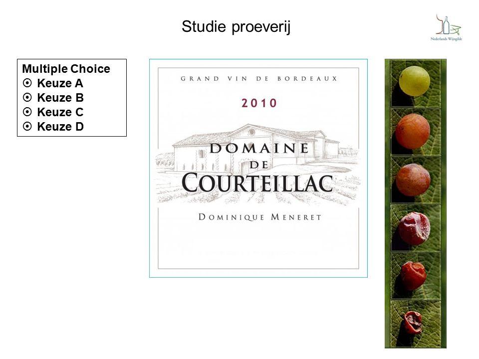 Studie proeverij Multiple Choice  Keuze A  Keuze B  Keuze C  Keuze D