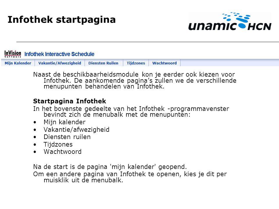 Infothek startpagina Naast de beschikbaarheidsmodule kon je eerder ook kiezen voor Infothek. De aankomende pagina's zullen we de verschillende menupun