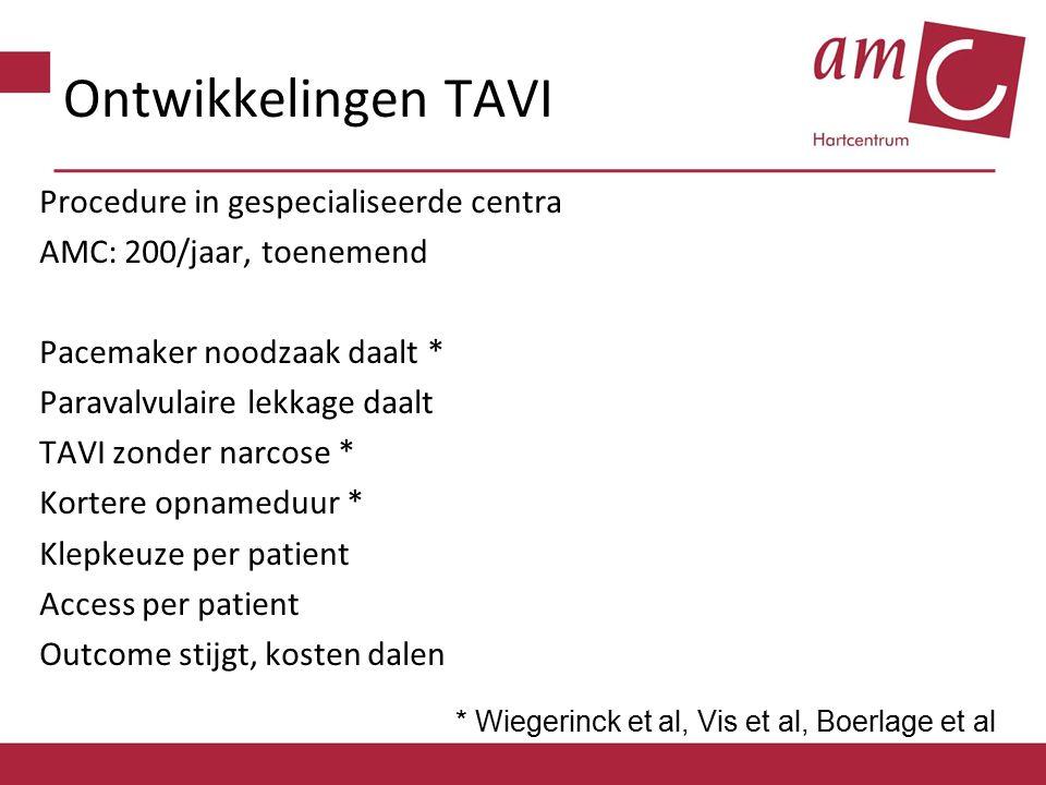 Ontwikkelingen TAVI Procedure in gespecialiseerde centra AMC: 200/jaar, toenemend Pacemaker noodzaak daalt * Paravalvulaire lekkage daalt TAVI zonder
