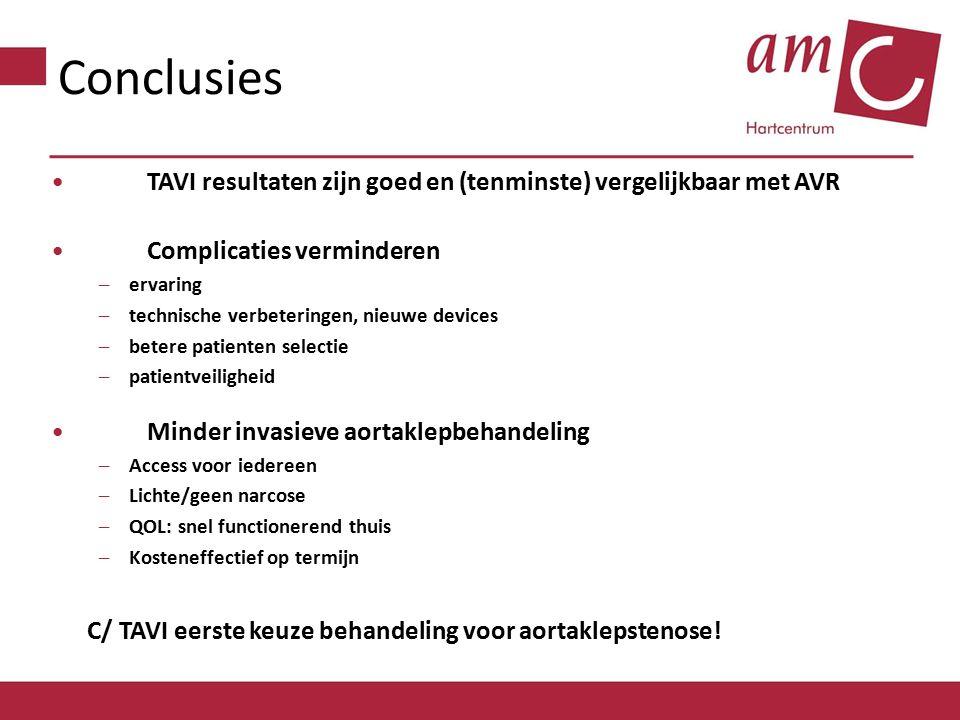 Conclusies TAVI resultaten zijn goed en (tenminste) vergelijkbaar met AVR Complicaties verminderen –ervaring –technische verbeteringen, nieuwe devices –betere patienten selectie –patientveiligheid Minder invasieve aortaklepbehandeling –Access voor iedereen –Lichte/geen narcose –QOL: snel functionerend thuis –Kosteneffectief op termijn C/ TAVI eerste keuze behandeling voor aortaklepstenose!