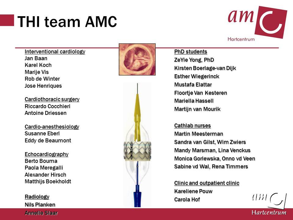THI team AMC Interventional cardiology Jan Baan Karel Koch Marije Vis Rob de Winter Jose Henriques Cardiothoracic surgery Riccardo Cocchieri Antoine D