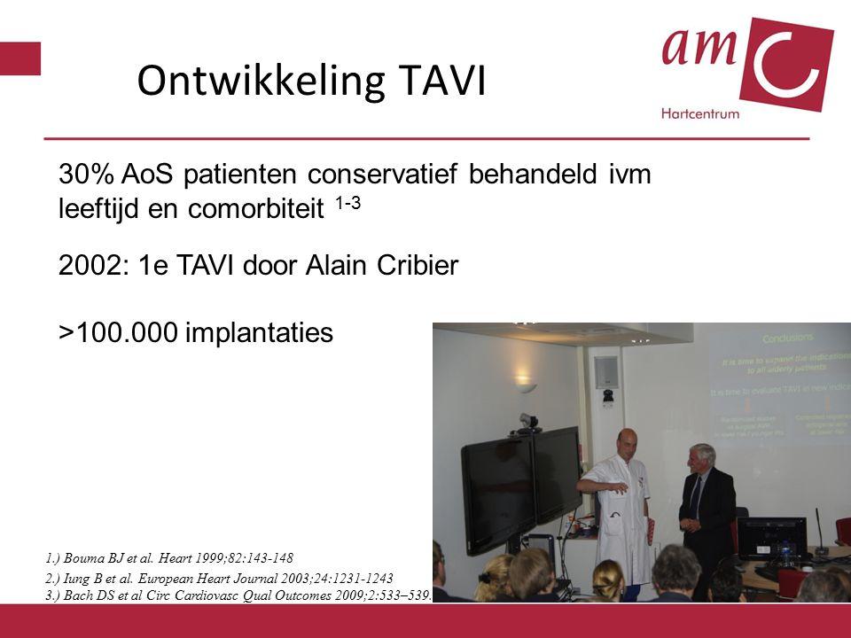 Ontwikkeling TAVI 1.) Bouma BJ et al. Heart 1999;82:143-148 2.) Iung B et al.