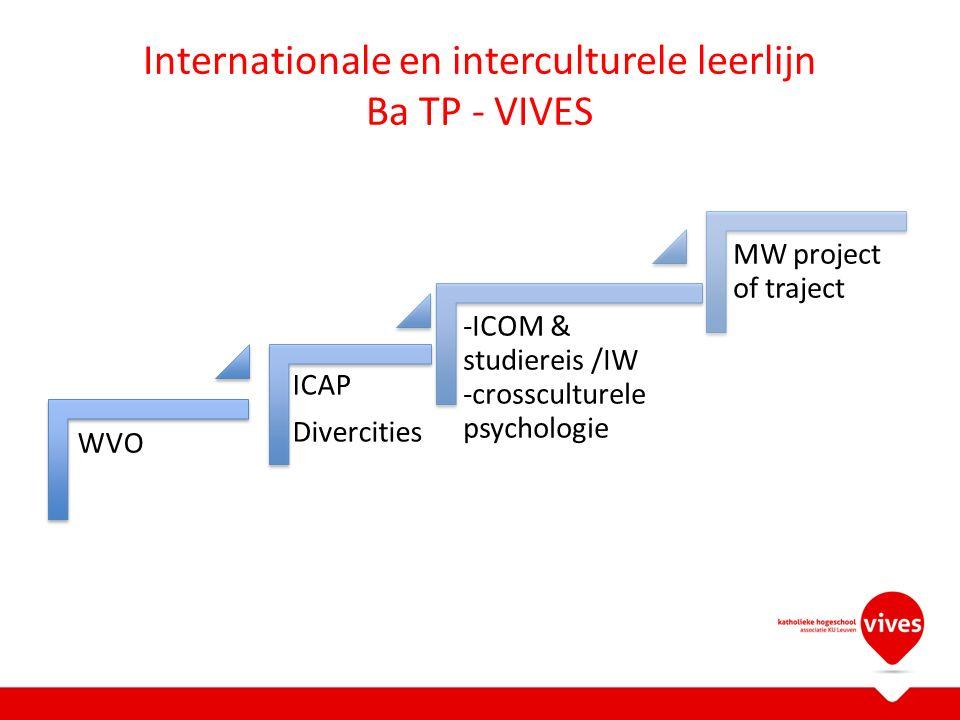 Internationale en interculturele leerlijn Ba TP - VIVES WVO ICAP Divercities -ICOM & studiereis /IW -crossculturele psychologie MW project of traject