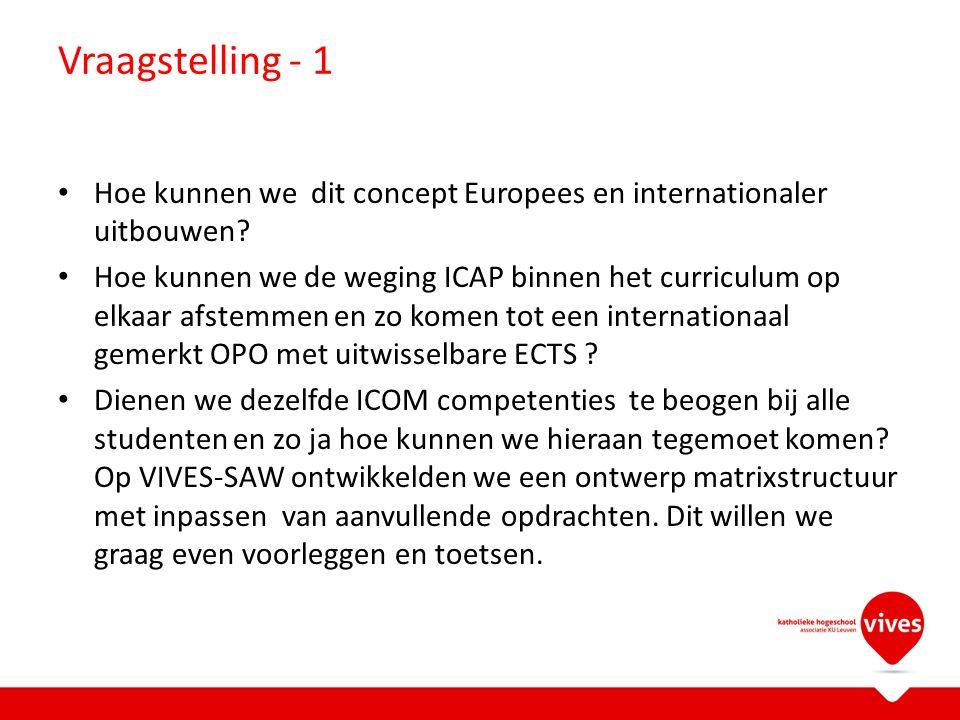 Vraagstelling - 1 Hoe kunnen we dit concept Europees en internationaler uitbouwen.