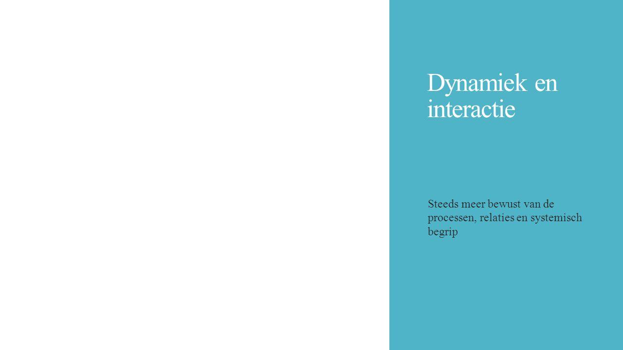 Dynamiek en interactie Steeds meer bewust van de processen, relaties en systemisch begrip