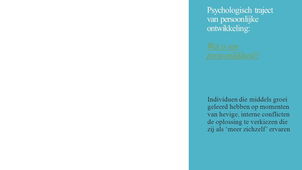 Psychologisch traject van persoonlijke ontwikkeling: Wat is een persoonlijkheid? Individuen die middels groei geleerd hebben op momenten van hevige, i