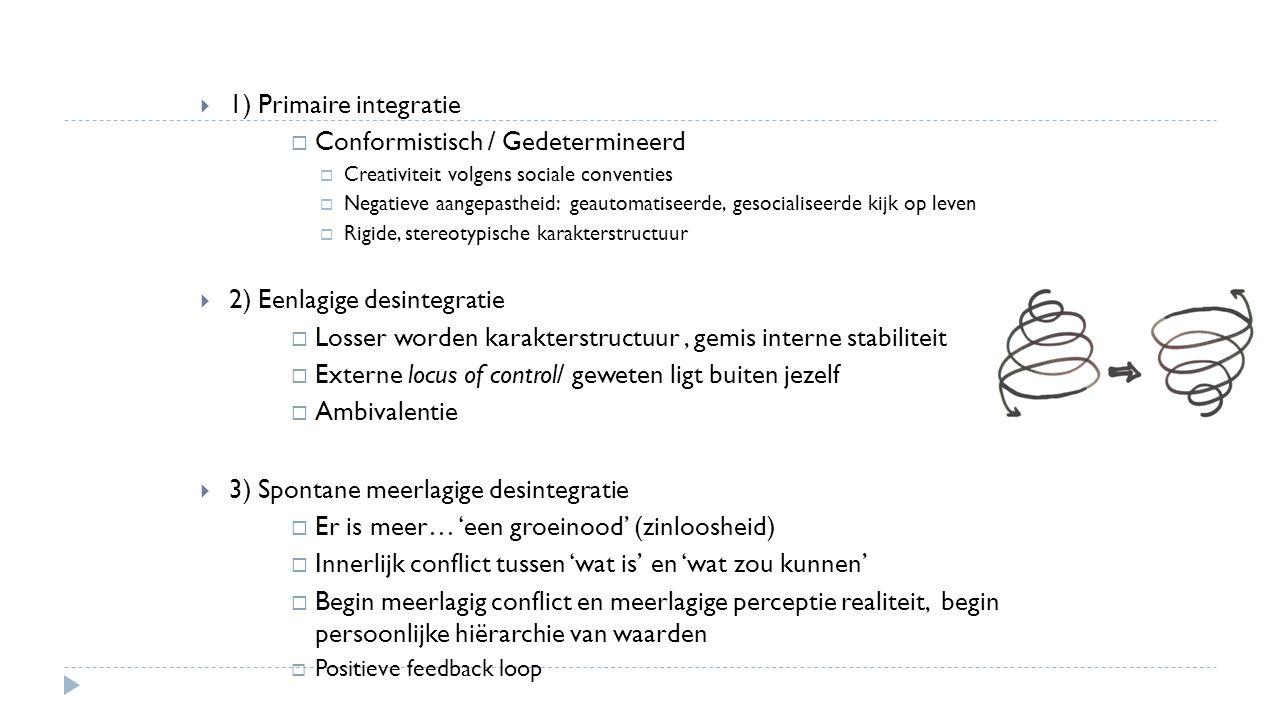  1) Primaire integratie  Conformistisch / Gedetermineerd  Creativiteit volgens sociale conventies  Negatieve aangepastheid: geautomatiseerde, geso