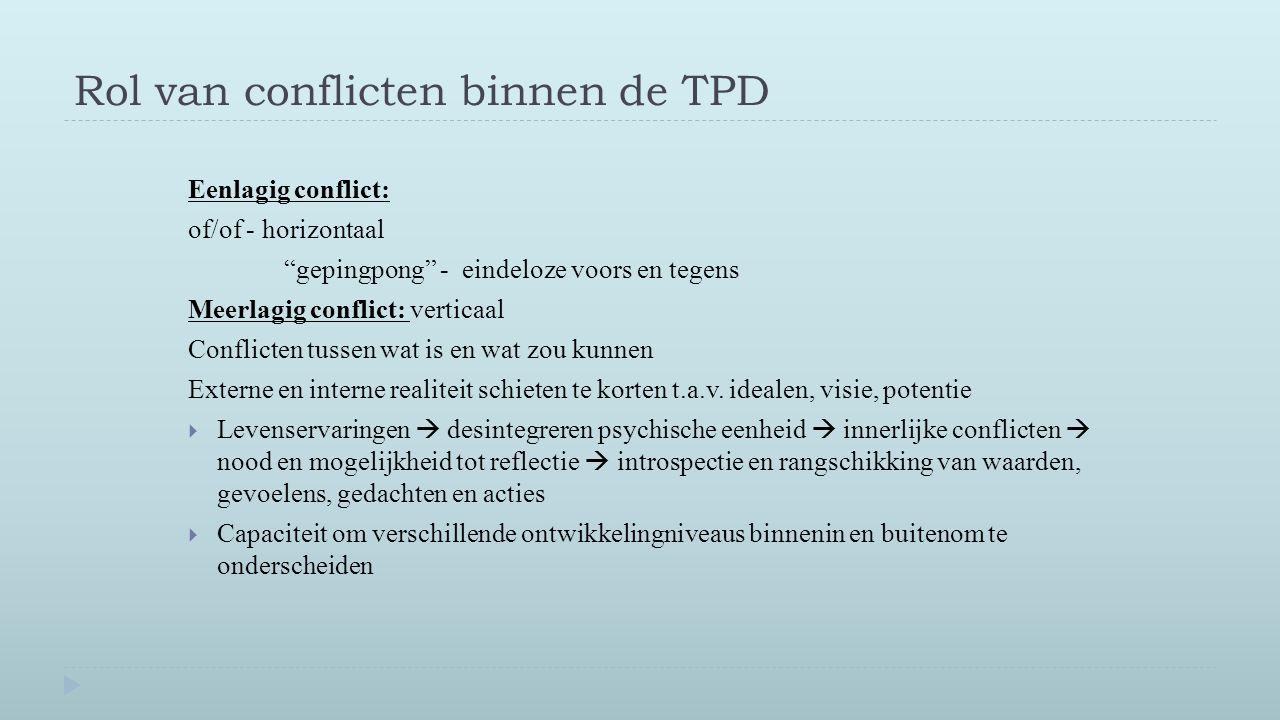 """Rol van conflicten binnen de TPD Eenlagig conflict: of/of - horizontaal """"gepingpong"""" - eindeloze voors en tegens Meerlagig conflict: verticaal Conflic"""