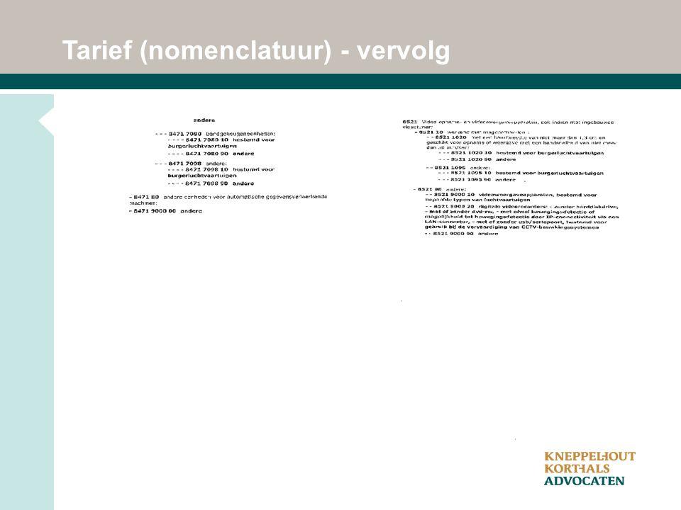 Tarief (nomenclatuur) - vervolg