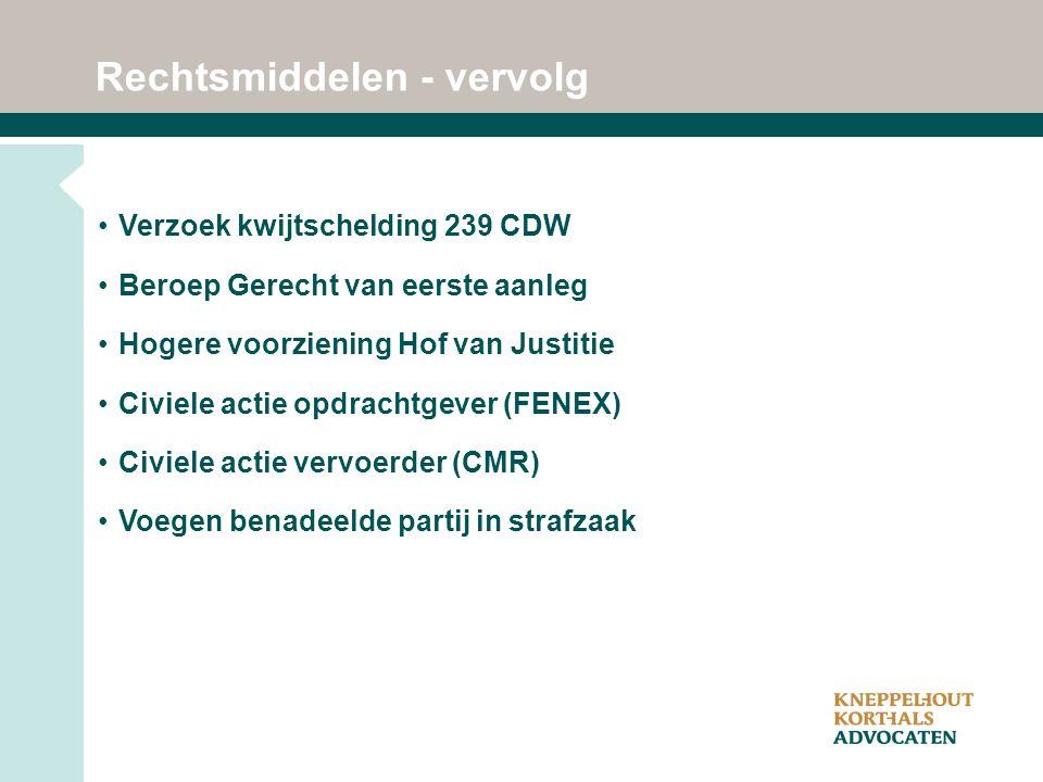 Rechtsmiddelen - vervolg Verzoek kwijtschelding 239 CDW Beroep Gerecht van eerste aanleg Hogere voorziening Hof van Justitie Civiele actie opdrachtgever (FENEX) Civiele actie vervoerder (CMR) Voegen benadeelde partij in strafzaak