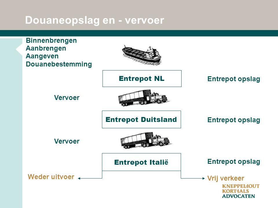 Entrepot NL Entrepot Duitsland Weder uitvoer Vrij verkeer Entrepot opslag Vervoer Entrepot Itali ë Douaneopslag en - vervoer Binnenbrengen Aanbrengen Aangeven Douanebestemming