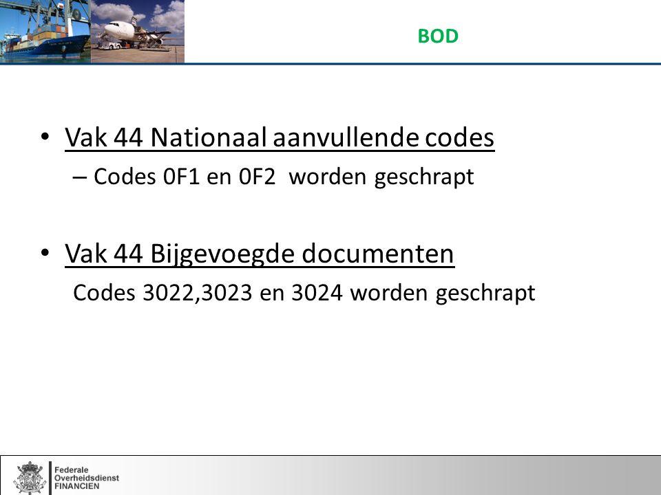 Vak 44 Nationaal aanvullende codes – Codes 0F1 en 0F2 worden geschrapt Vak 44 Bijgevoegde documenten Codes 3022,3023 en 3024 worden geschrapt BOD