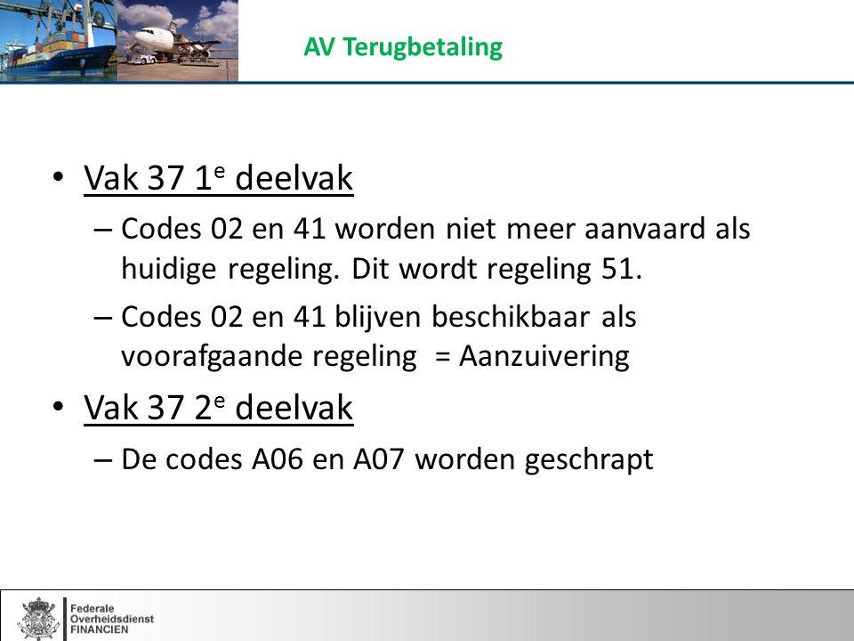 Vak 37 1 e deelvak – Codes 02 en 41 worden niet meer aanvaard als huidige regeling.