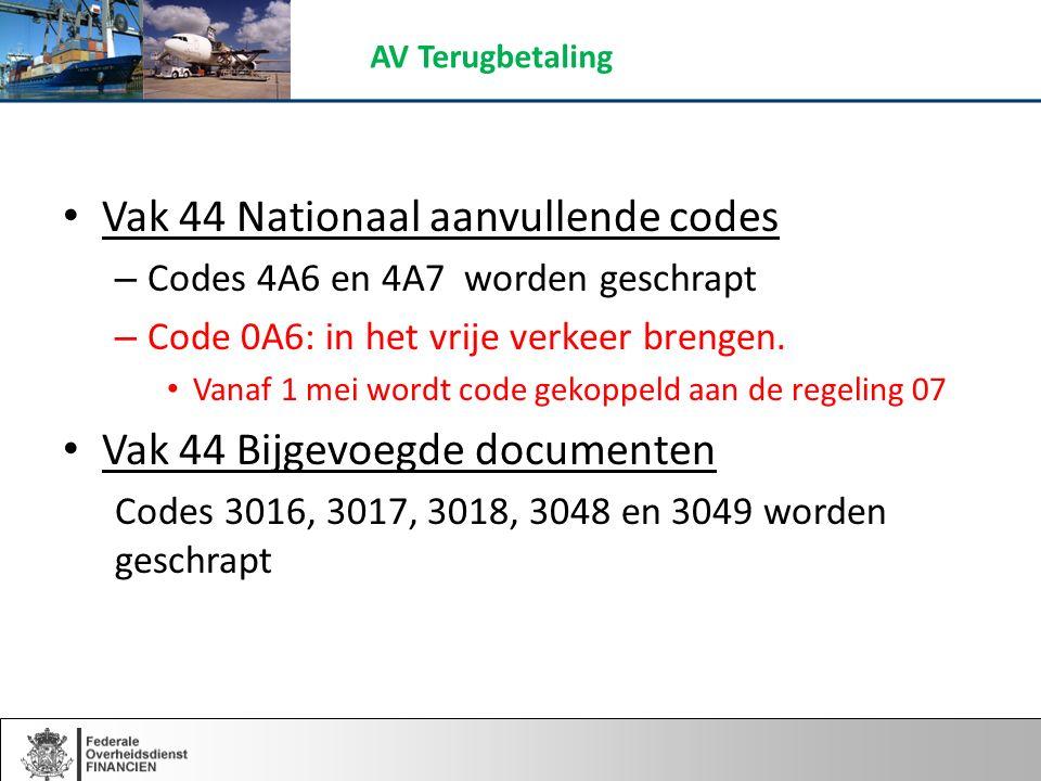 Vak 44 Nationaal aanvullende codes – Codes 4A6 en 4A7 worden geschrapt – Code 0A6: in het vrije verkeer brengen.