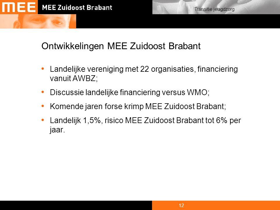 12 Transitie jeugdzorg Ontwikkelingen MEE Zuidoost Brabant Landelijke vereniging met 22 organisaties, financiering vanuit AWBZ; Discussie landelijke financiering versus WMO; Komende jaren forse krimp MEE Zuidoost Brabant; Landelijk 1,5%, risico MEE Zuidoost Brabant tot 6% per jaar.