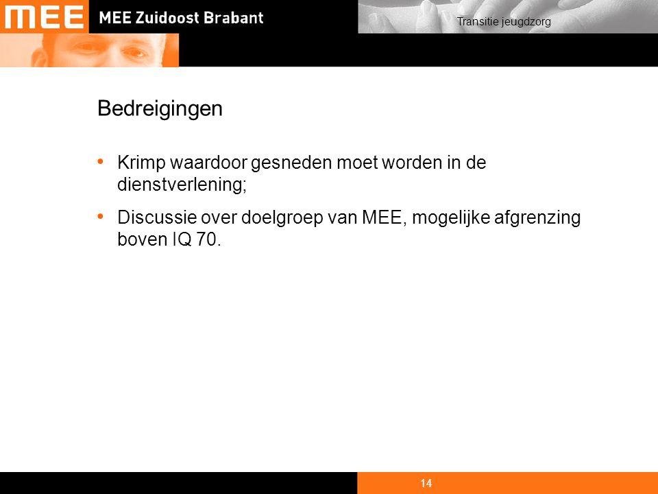 14 Transitie jeugdzorg Bedreigingen Krimp waardoor gesneden moet worden in de dienstverlening; Discussie over doelgroep van MEE, mogelijke afgrenzing boven IQ 70.