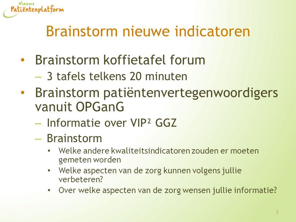 Brainstorm nieuwe indicatoren Brainstorm koffietafel forum – 3 tafels telkens 20 minuten Brainstorm patiëntenvertegenwoordigers vanuit OPGanG – Informatie over VIP² GGZ – Brainstorm Welke andere kwaliteitsindicatoren zouden er moeten gemeten worden Welke aspecten van de zorg kunnen volgens jullie verbeteren.