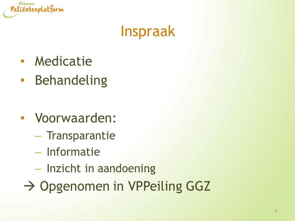 Inspraak Medicatie Behandeling Voorwaarden: – Transparantie – Informatie – Inzicht in aandoening  Opgenomen in VPPeiling GGZ 8