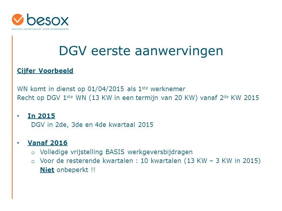 DGV eerste aanwervingen Cijfer Voorbeeld WN komt in dienst op 01/04/2015 als 1 ste werknemer Recht op DGV 1 ste WN (13 KW in een termijn van 20 KW) vanaf 2 de KW 2015 In 2015 DGV in 2de, 3de en 4de kwartaal 2015 Vanaf 2016 o Volledige vrijstelling BASIS werkgeversbijdragen o Voor de resterende kwartalen : 10 kwartalen (13 KW – 3 KW in 2015) Niet onbeperkt !!