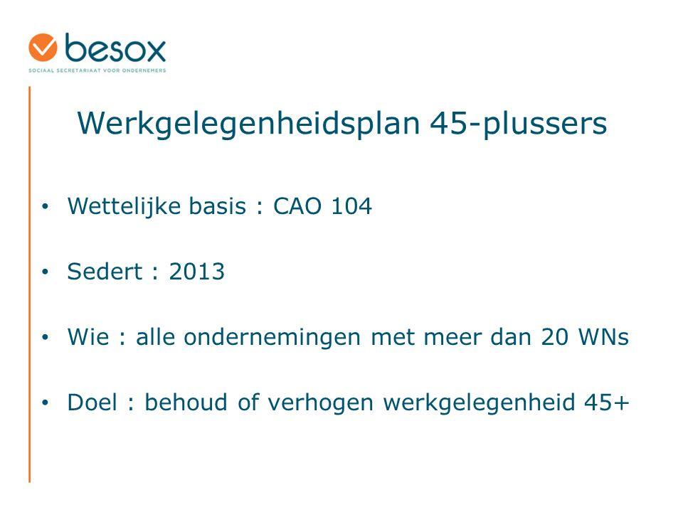 Wettelijke basis : CAO 104 Sedert : 2013 Wie : alle ondernemingen met meer dan 20 WNs Doel : behoud of verhogen werkgelegenheid 45+