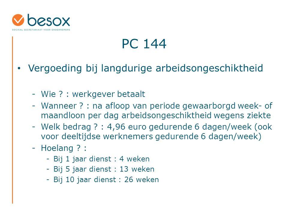 PC 144 Vergoeding bij langdurige arbeidsongeschiktheid -Wie .