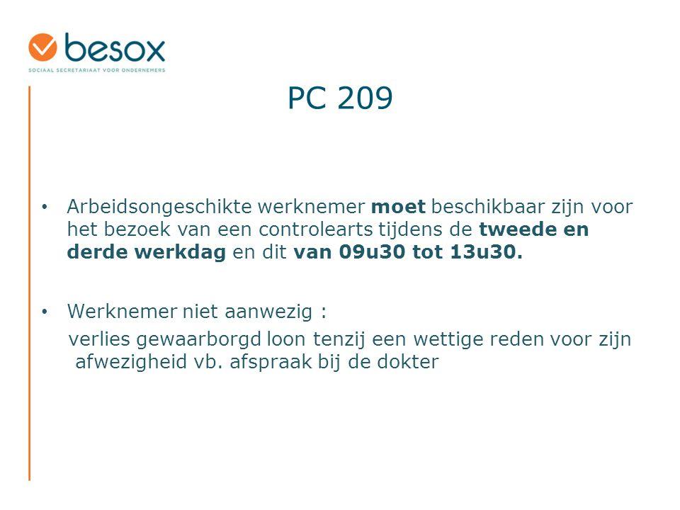 PC 209 Arbeidsongeschikte werknemer moet beschikbaar zijn voor het bezoek van een controlearts tijdens de tweede en derde werkdag en dit van 09u30 tot 13u30.