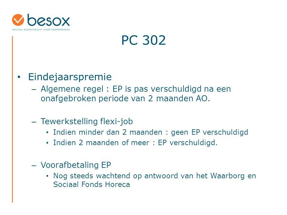 PC 302 Eindejaarspremie – Algemene regel : EP is pas verschuldigd na een onafgebroken periode van 2 maanden AO.