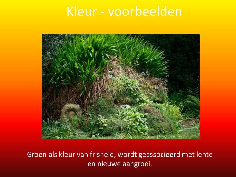 Groen als kleur van frisheid, wordt geassocieerd met lente en nieuwe aangroei. Kleur - voorbeelden