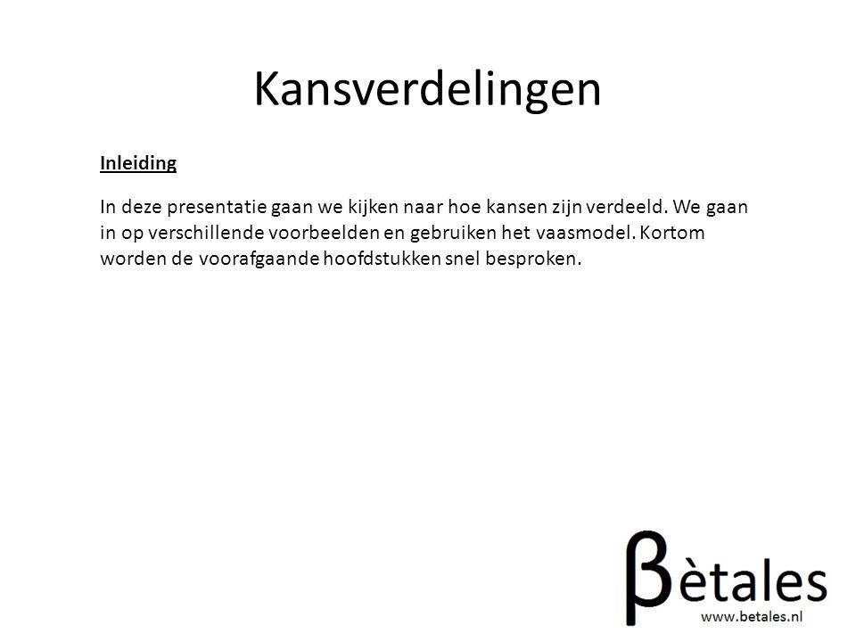 Kansverdelingen Rekenvoorbeeld We nemen een loterij waarin per 100 loten 20 prijzen van 1€ zijn en 1 prijs van €10 en een van €20.
