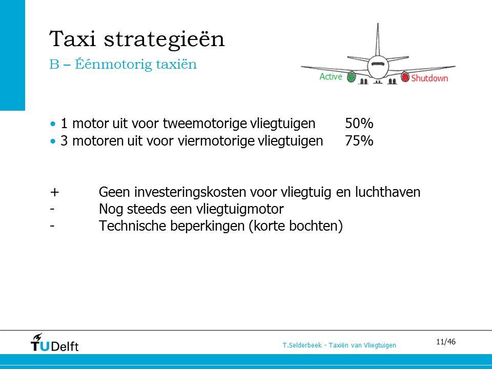 11/46 T.Selderbeek - Taxiën van Vliegtuigen Taxi strategieën 1 motor uit voor tweemotorige vliegtuigen 50% 3 motoren uit voor viermotorige vliegtuigen